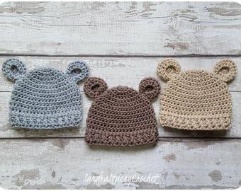 Newborn Crochet Hat, Bear Hat