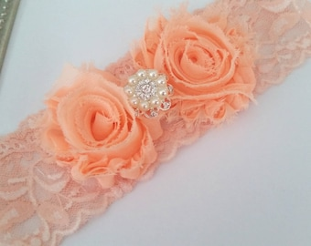 Peach Bridal Garter,  Stretch Lace Garter, Keepsake Garter, Wedding Garter,  Bridal Garter