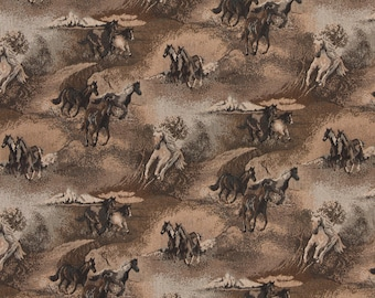 Beige Wild Horses Galloping, Themed Tapestry Upholstery Fabric By The Yard| Pattern #A021