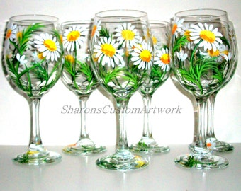 Bridesmaids Gift Bacehlorette Party Wedding Bridal Shower Mother of the Bride White Daisies Hand Painted Wine Glasses Set of 6 / 20 oz.