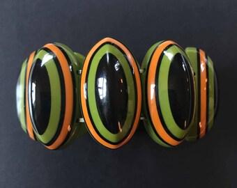 Marion Goddard Bracelet, Green, Orange, and Black