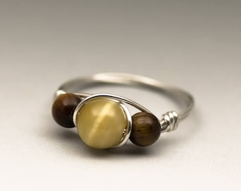 Honey & Golden Tiger's Eye Gemstone Sterling Silver Wire Wrapped Ring - Made to Order, Ships Fast!