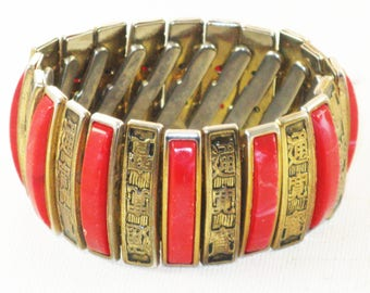 Vintage Wide Red and Bronze Asian Chinese Mandarin Good Luck Expansion Bracelet (BR-4-1)