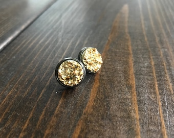 Gold Resin/Gunmetal Black 14mm Stud Earrings