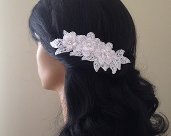 Bridal Hair Accessories, Wedding Head Piece, White Beaded Lace, Comb
