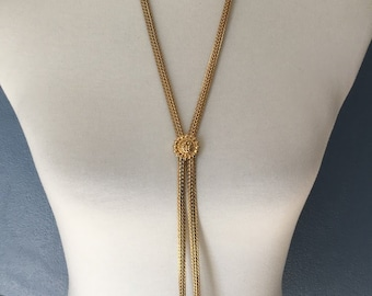 Great Vintage Monet Gold Tone Bolo Tie Style Necklace- Monet Signature- Long Gold Necklace Perfect For Any Occasion- Unique Design