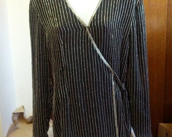 Lovely Adrianna Pappell black beaded evening jacket
