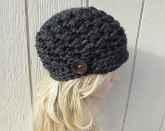 Women's Crochet Newsboy Beanie Hat Chunky Crochet Button