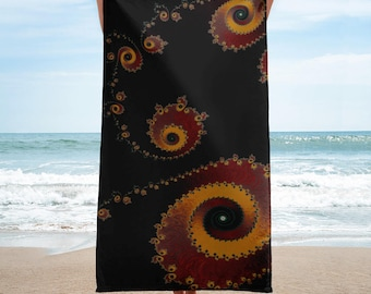 "Fractal Beach Towel, Black Red Yellow Beach Towel, Mandelbrot Beach Towel, Festival Towel, Terry Cloth Soft, ""Burning Embers"" Fractal Towel"