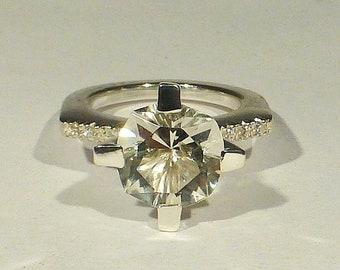 Citrine Ring, Citrine Silver Ring, Sterling Silver Ring with Citrine, Citrine Stone Ring, Citrine and Zirconia Ring, Statement Ring