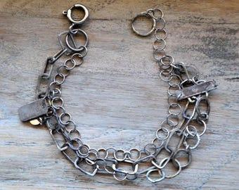 Bohemian multi row Bracelet, Sterling Silver Bracelet, Raw Silver, Handmade Sterling Silver, 100% sterling silver 925