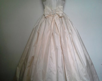 Ava-Strapless Silk Ball Gown with Rhinestone Buckle and Bow Accent