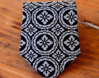 Mens gray cotton necktie - mens black medallion print tie - mens evening wedding neckties - groomsmens neckties - classy necktie - modern