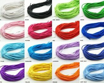 2MM Nylon Coated Round Elastic Cord Stretch Stretchable Beading Mala Craft String - 20 Yards