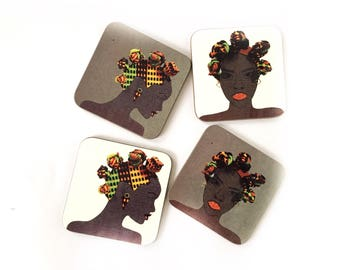 Bantu  Knot coasters, African coasters, fridge magnet, headwrap magnets, drinks mat, drinkware, birthday gift for her, Mother's Day gift