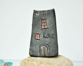 LOVE Handmade Black Raku pottry  fired Ceramic houses with  copper glazes, Hand sculpted and raku or earthenware fired
