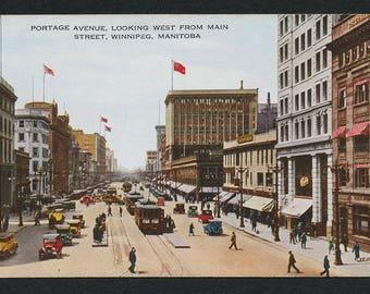 Winnipeg, Manitoba, Canada Postcard - Vintage Color Postcard of Portage Avenue, Looking West From Main Street