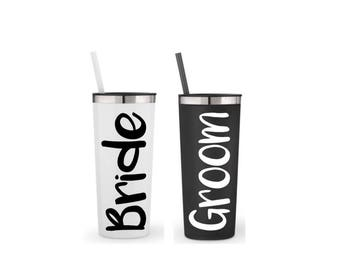 Bride to be gift, Bride and groom gift, set of 2 - 22 oz, stainless his and her cups, engagement gift, wedding gift, gift for the couple