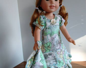 "14.5"" doll jungle print pajamas and blanket, doll sleepwear, made to fit wellie wishers and glitter girls"