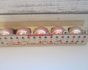 One Box of Five Vintage Light Pink Shiny Brite Ornaments Vintage Glass Christmas Ornaments in Light Pink