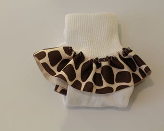 Girls' Ruffled Sock-Giraffe Print