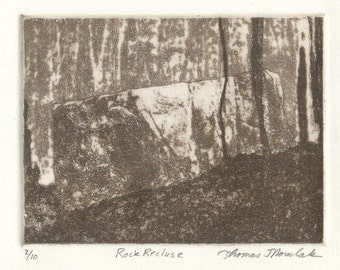 ROCK RECLUSE original hand printed zinc plate aquatint photo transfer limited edition etching
