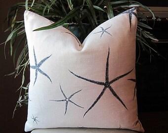 Indigo Sea Stars Decorative Pillow Cover