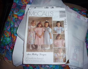 McCall's 7002 Ann Hallay Designs Girls Dress Ready to be Sew Size 5 Easter Eggs Fabric