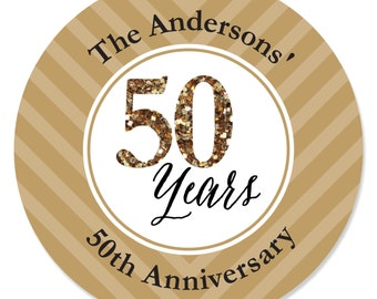 We Still Do - 50th Anniversary Personalized Circle Stickers - Wedding or Anniversary DIY Craft Supplies  - 24 Count