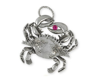 Sterling Silver Crab And Birthstone Charm Jewelry