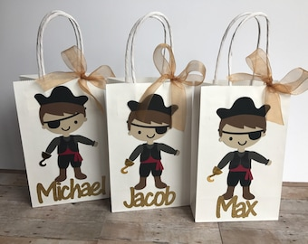 Set of 6 Pirate Party Bags, Personalized Pirate Gift Bags, Pirate Birthday Party