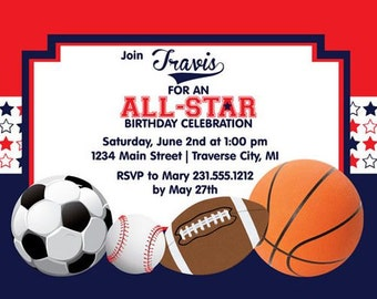 Sports Theme-Customized-1st Birthday Invitation (2) -Digital Printable Download