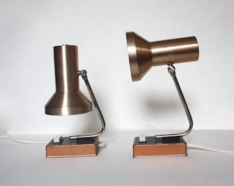 Rose gold pair of 1970s table lamps. Minimalist midcentury modern metal night lights