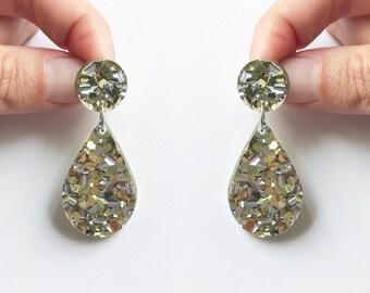 Statement Dangle Earrings Glitter Gold and Silver drop earrings Laser cut acrylic droplet stainless steel