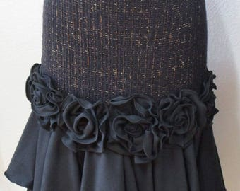 Lovely special rose decoration in black color skirt or tube dress for your option plus made in USA (VN117)