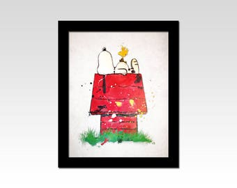 Peanuts inspired Snoopy and Woodstock watercolour effect print