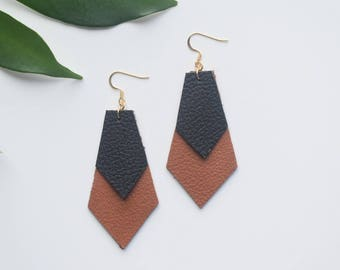 Black and Tan Double Diamond Leather Earrings