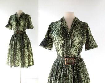 60s Shirtwaist Dress | Green Symphony | 1960s Dress | Small S