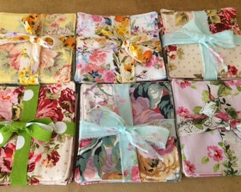 Shabby Chic, Reversible Fabric Cloth Coasters, Mug Rug, Set of 12, by CHOW with ME - Free Shipping