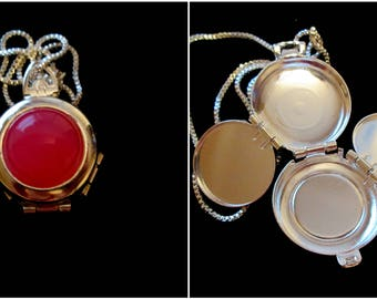 Silver and Hot Pink Agate Four Picture Locket Necklace