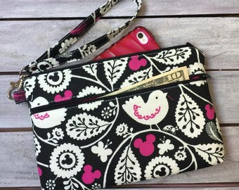 Wristlet; Mickey Mouse Wristlet Wallet; Phone Wallet; Zipper Pouch; iPhone 7 Wristlet; Cell Phone Purse; Phone Case; Wallet with Strap Pouch