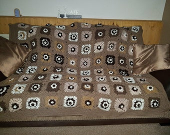 Large granny square throw
