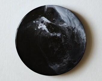 """Abstrakte Epoxy-Malerei auf Holz """"Wave"""", Harz, Holz, Wand-Dekor, moderne Kunst, minimal, schwarz und weiß, Raum, Universum"""