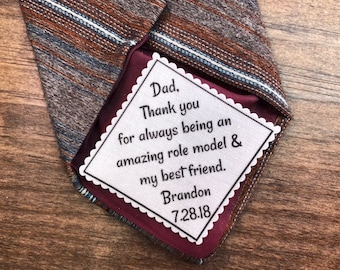 "FATHER of the GROOM Tie Patch - From the GROOM - Sew On or Iron On, 2.5"" or 2"" Wide Diagonal Patch, Amazing Role Model & My Best Friend"