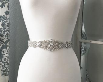 Bridal Sash, Wedding Dress Belt, Rhinestone Pearl Bridal Sash, Crystal Sash Belt, Wedding Dress Belt, Bridal Sash Belt 9931
