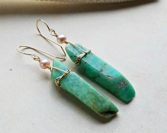 Long Amazonite Earrrings, Amazonite Dangle, Pink Aqua Dangle Earrings:  Ready Made