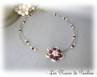Burgundy, ivory bridal necklace and gold Sophie 'Tradition'