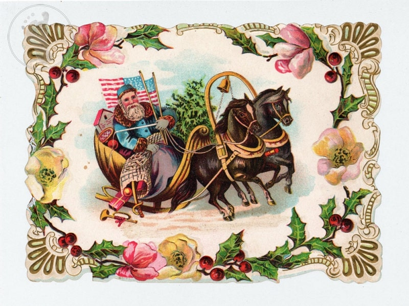Patriotic Santa Victorian Christmas Art Old Fashioned