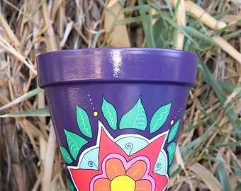 8.25 inch-Purple Flower Burst Flower Pot