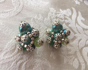 Vintage 1950s Green and Silver Cluster Earrings